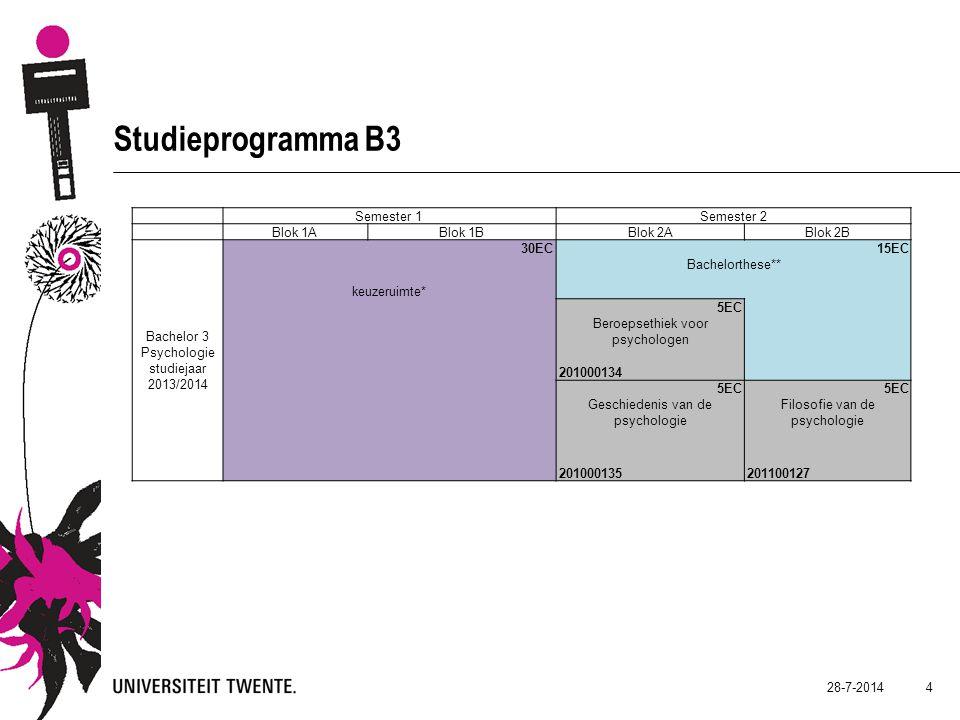 28-7-2014 5 Studieprogramma B3 Keuzeruimte 30 EC  Keuzeruimte / minor / …..