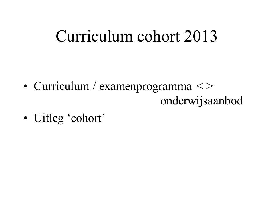 Curriculum cohort 2013 Curriculum / examenprogramma onderwijsaanbod Uitleg 'cohort'