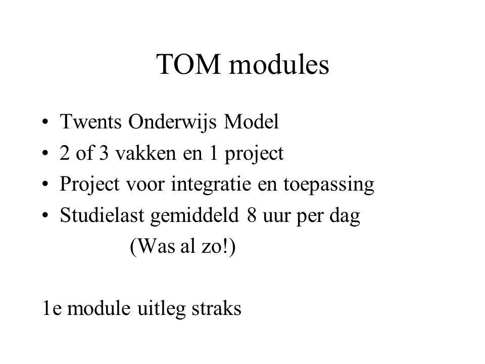 TOM modules Twents Onderwijs Model 2 of 3 vakken en 1 project Project voor integratie en toepassing Studielast gemiddeld 8 uur per dag (Was al zo!) 1e