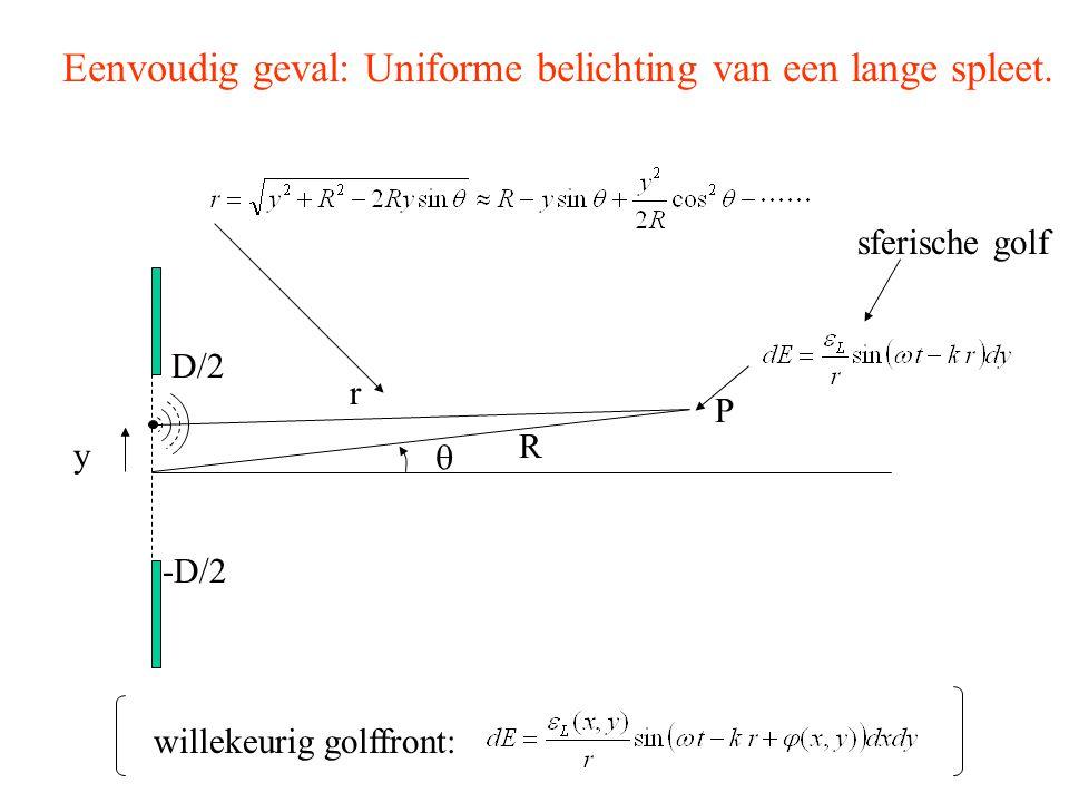 Eenvoudig geval: Uniforme belichting van een lange spleet. R r  P y -D/2 D/2 willekeurig golffront: sferische golf