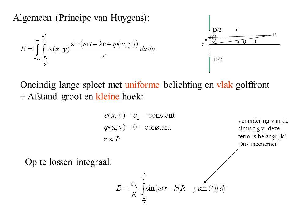 Algemeen (Principe van Huygens): Oneindig lange spleet met uniforme belichting en vlak golffront + Afstand groot en kleine hoek: Op te lossen integraal: verandering van de sinus t.g.v.