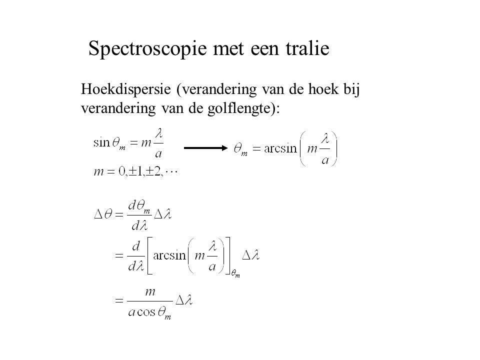Hoekdispersie (verandering van de hoek bij verandering van de golflengte): Spectroscopie met een tralie