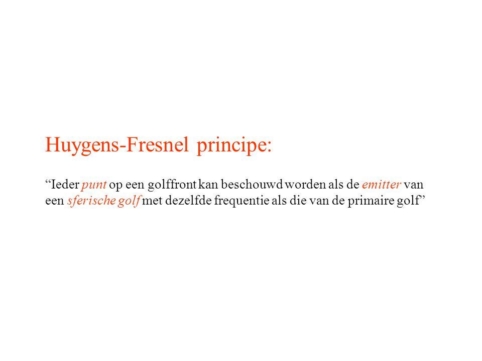"""Huygens-Fresnel principe: """"Ieder punt op een golffront kan beschouwd worden als de emitter van een sferische golf met dezelfde frequentie als die van"""