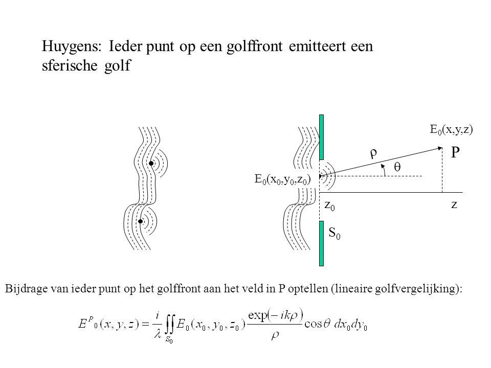 Huygens: Ieder punt op een golffront emitteert een sferische golf E 0 (x 0,y 0,z 0 ) E 0 (x,y,z)   P zz0z0 Bijdrage van ieder punt op het golffront