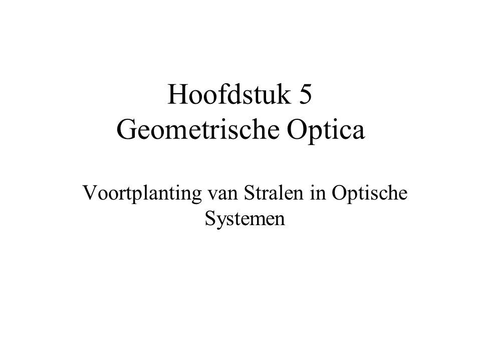 Hoofdstuk 5 Geometrische Optica Voortplanting van Stralen in Optische Systemen