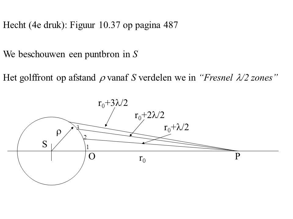 Hecht (4e druk): Figuur 10.37 op pagina 487 We beschouwen een puntbron in S Het golffront op afstand  vanaf S verdelen we in Fresnel /2 zones r0r0 r 0 + /2 r 0 +2 /2 r 0 +3 /2 S  O 1 2 3 P