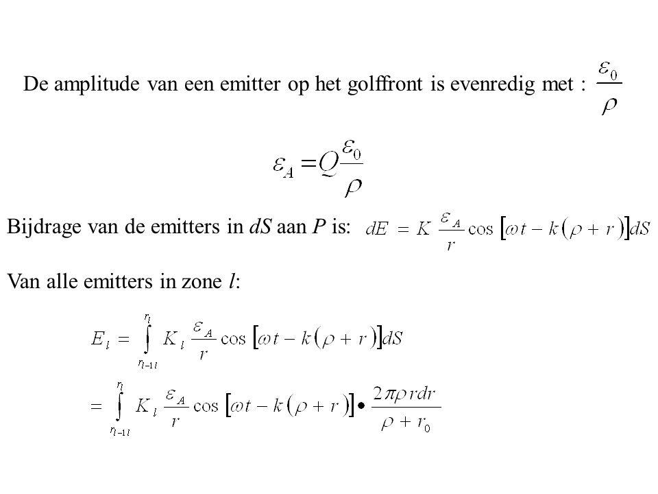 De amplitude van een emitter op het golffront is evenredig met : Bijdrage van de emitters in dS aan P is: Van alle emitters in zone l:
