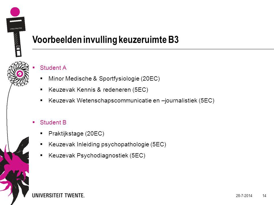 28-7-2014 14 Voorbeelden invulling keuzeruimte B3  Student A  Minor Medische & Sportfysiologie (20EC)  Keuzevak Kennis & redeneren (5EC)  Keuzevak Wetenschapscommunicatie en –journalistiek (5EC)  Student B  Praktijkstage (20EC)  Keuzevak Inleiding psychopathologie (5EC)  Keuzevak Psychodiagnostiek (5EC)