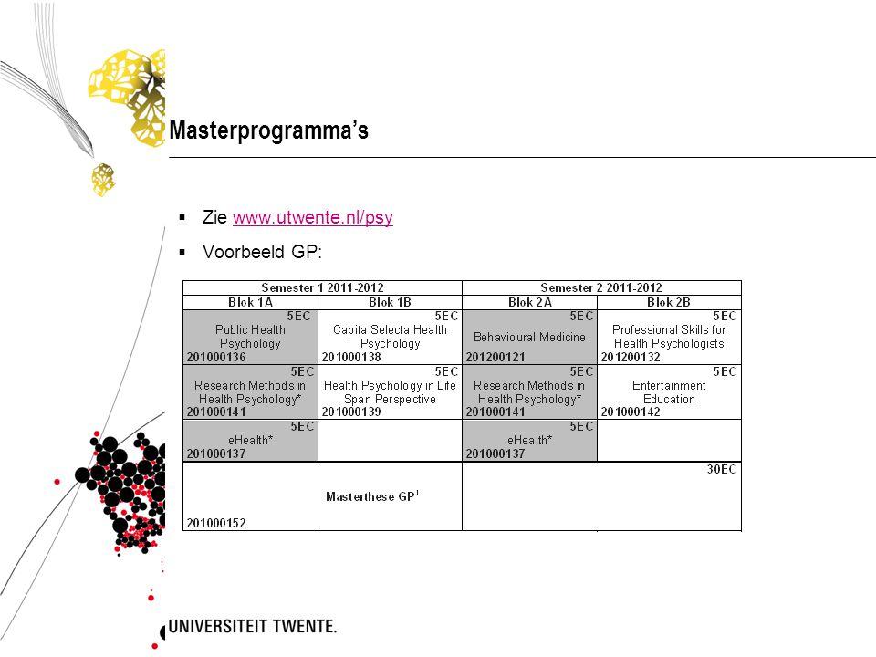 Masterprogramma's  Zie www.utwente.nl/psywww.utwente.nl/psy  Voorbeeld GP: