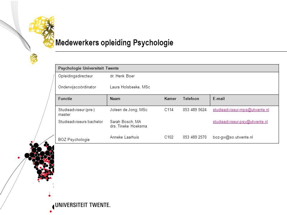 Medewerkers opleiding Psychologie Psychologie Universiteit Twente Opleidingsdirecteurdr. Henk Boer OnderwijscoördinatorLaura Holsbeeke, MSc FunctieNaa