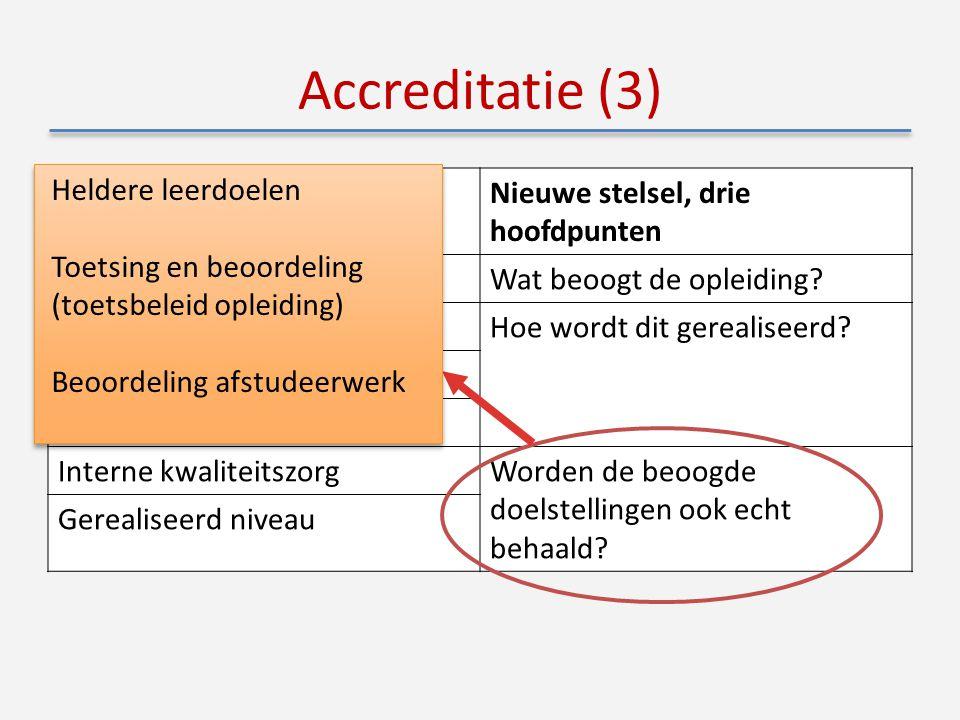 Accreditatie (3) Oude stelsel, 6 onderwerpenNieuwe stelsel, drie hoofdpunten DoelstellingenWat beoogt de opleiding.