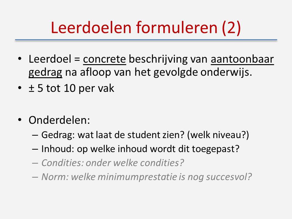 Leerdoelen formuleren (2) Leerdoel = concrete beschrijving van aantoonbaar gedrag na afloop van het gevolgde onderwijs.
