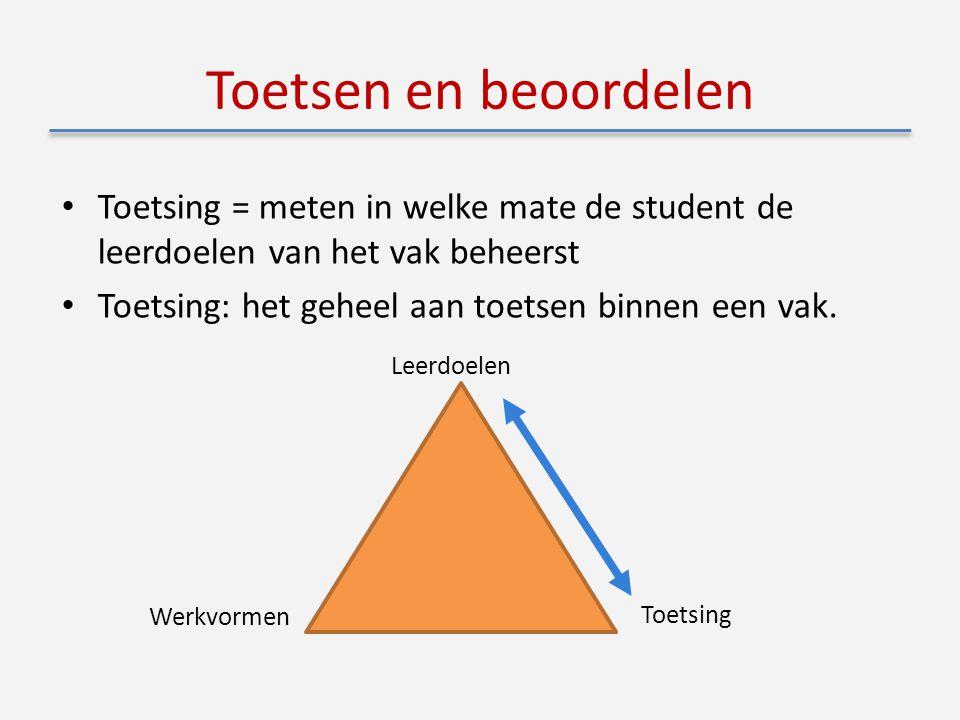 Toetsen en beoordelen Toetsing = meten in welke mate de student de leerdoelen van het vak beheerst Toetsing: het geheel aan toetsen binnen een vak.
