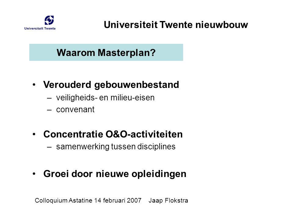 Waarom Masterplan? Verouderd gebouwenbestand –veiligheids- en milieu-eisen –convenant Concentratie O&O-activiteiten –samenwerking tussen disciplines G