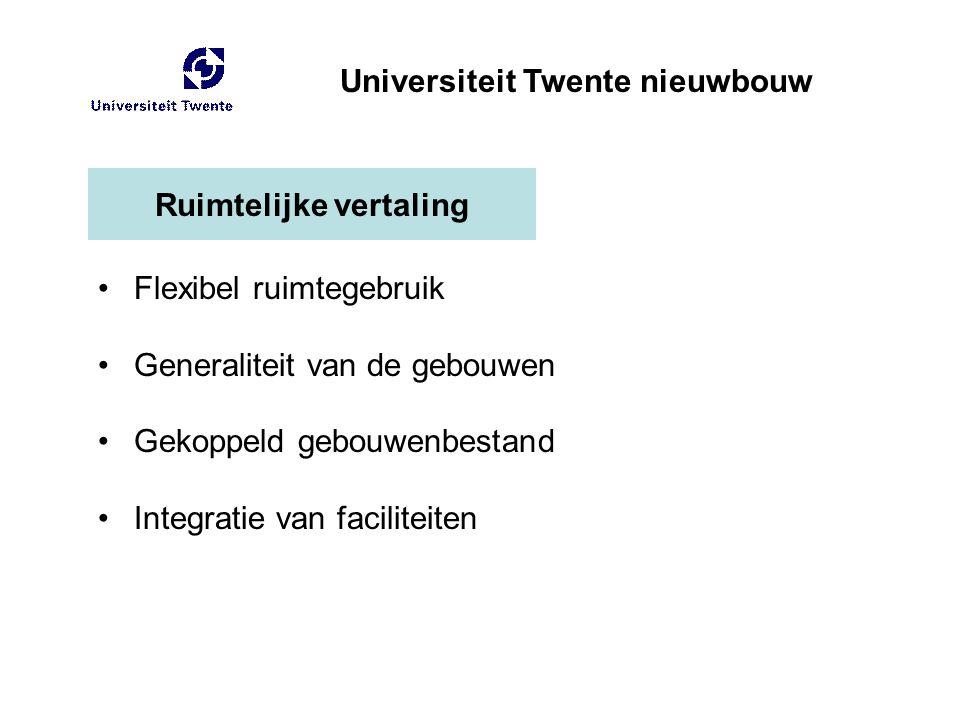 Ruimtelijke vertaling Flexibel ruimtegebruik Generaliteit van de gebouwen Gekoppeld gebouwenbestand Integratie van faciliteiten Universiteit Twente ni