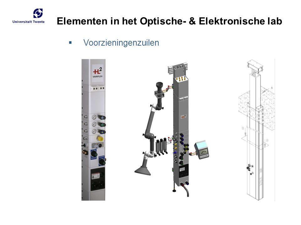 Elementen in het Optische- & Elektronische lab  Voorzieningenzuilen