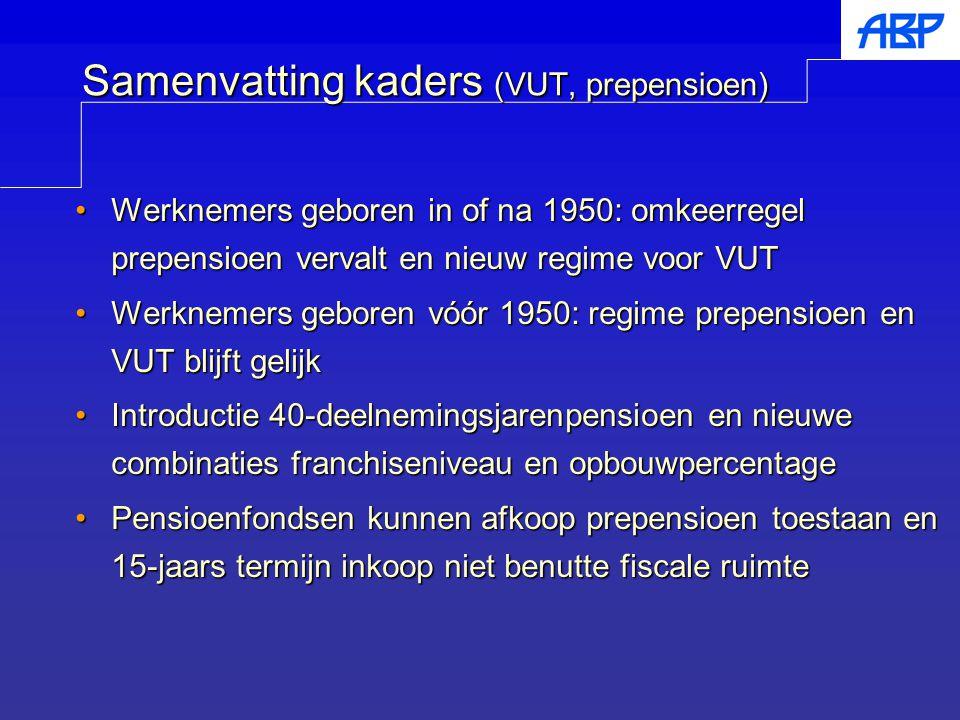 Samenvatting kaders (VUT, prepensioen) Werknemers geboren in of na 1950: omkeerregel prepensioen vervalt en nieuw regime voor VUTWerknemers geboren in