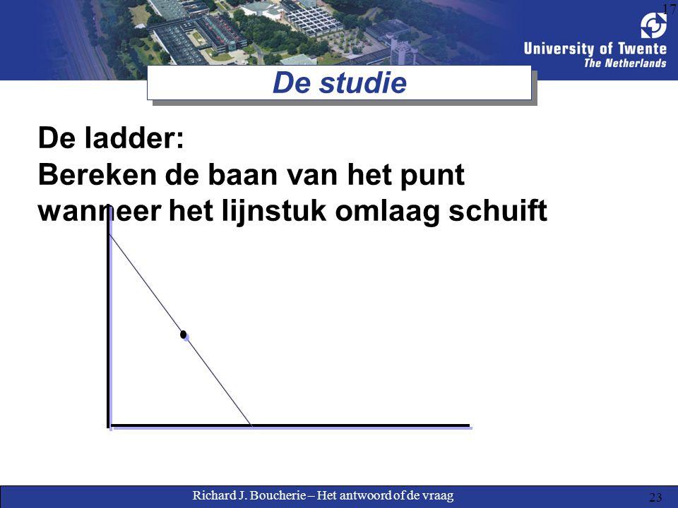 Richard J. Boucherie – Het antwoord of de vraag 23 17 De studie De ladder: Bereken de baan van het punt wanneer het lijnstuk omlaag schuift