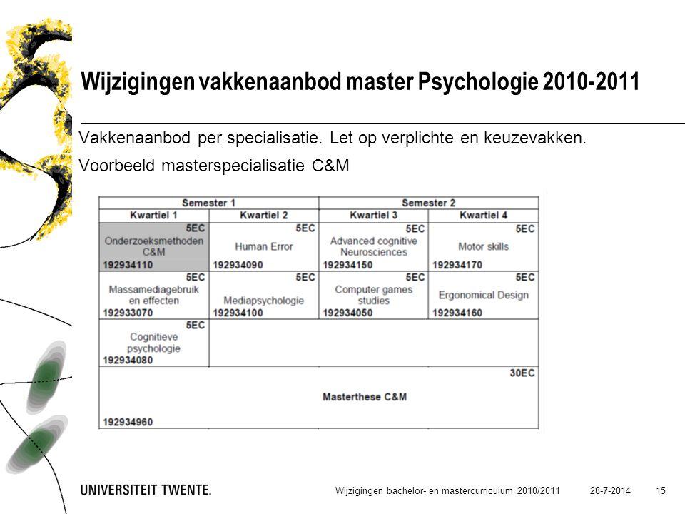 28-7-2014 15 Wijzigingen vakkenaanbod master Psychologie 2010-2011 Vakkenaanbod per specialisatie. Let op verplichte en keuzevakken. Voorbeeld masters