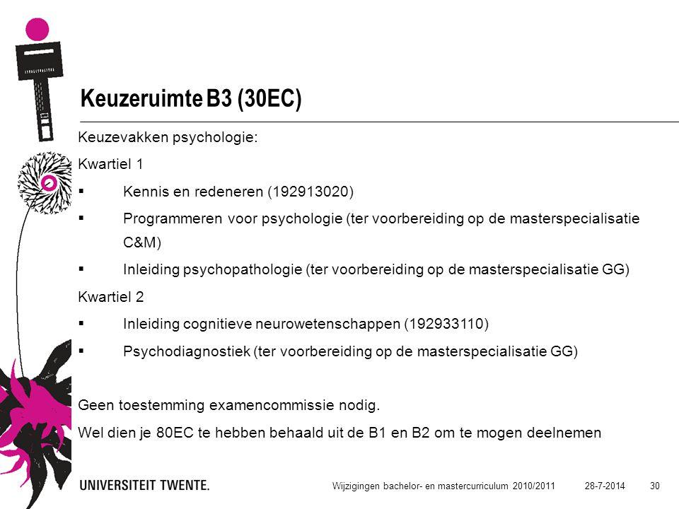 28-7-2014 30 Wijzigingen bachelor- en mastercurriculum 2010/2011 Keuzeruimte B3 (30EC) Keuzevakken psychologie: Kwartiel 1  Kennis en redeneren (1929