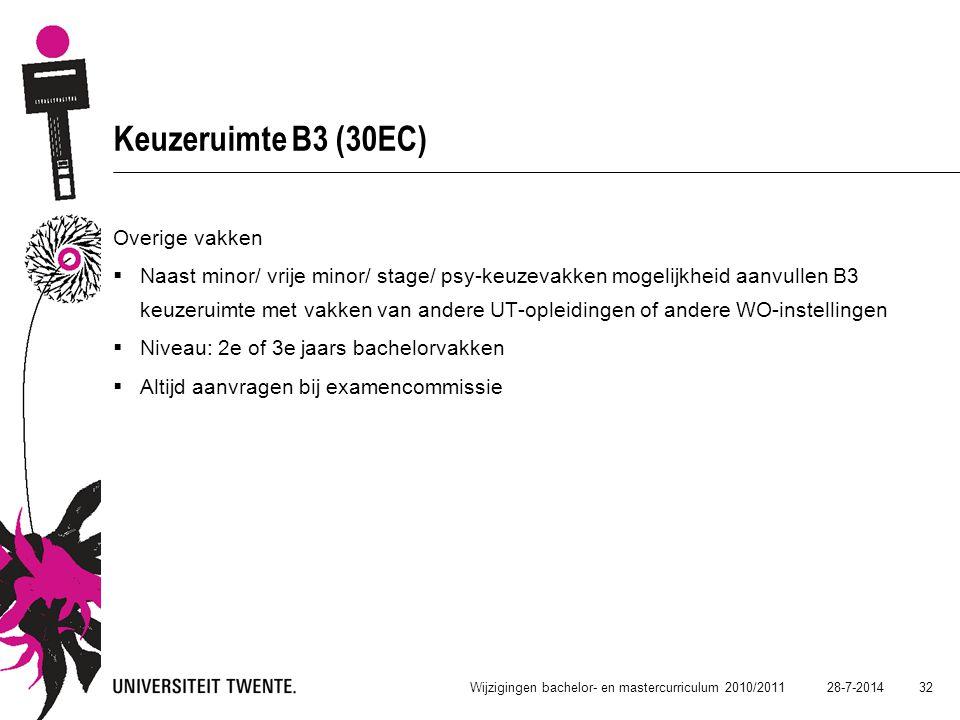 28-7-2014 32 Wijzigingen bachelor- en mastercurriculum 2010/2011 Keuzeruimte B3 (30EC) Overige vakken  Naast minor/ vrije minor/ stage/ psy-keuzevakk