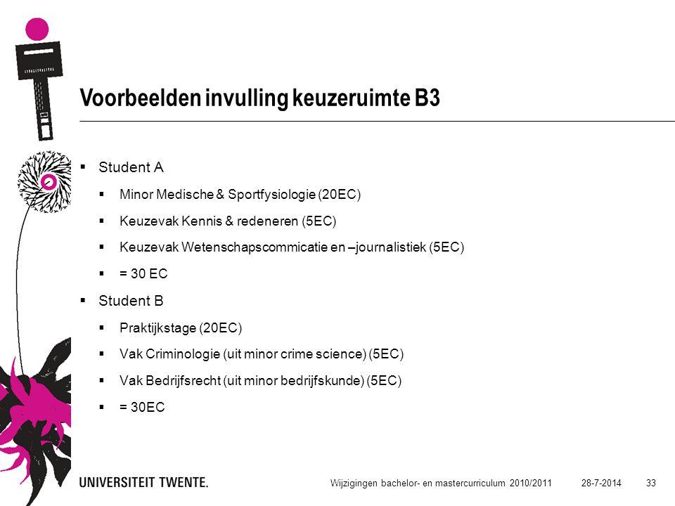 28-7-2014 33 Wijzigingen bachelor- en mastercurriculum 2010/2011 Voorbeelden invulling keuzeruimte B3  Student A  Minor Medische & Sportfysiologie (