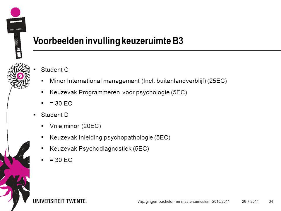28-7-2014 34 Wijzigingen bachelor- en mastercurriculum 2010/2011 Voorbeelden invulling keuzeruimte B3  Student C  Minor International management (In