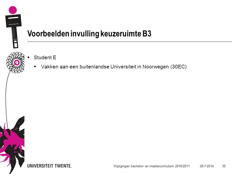 28-7-2014 35 Wijzigingen bachelor- en mastercurriculum 2010/2011 Voorbeelden invulling keuzeruimte B3  Student E  Vakken aan een buitenlandse Univer
