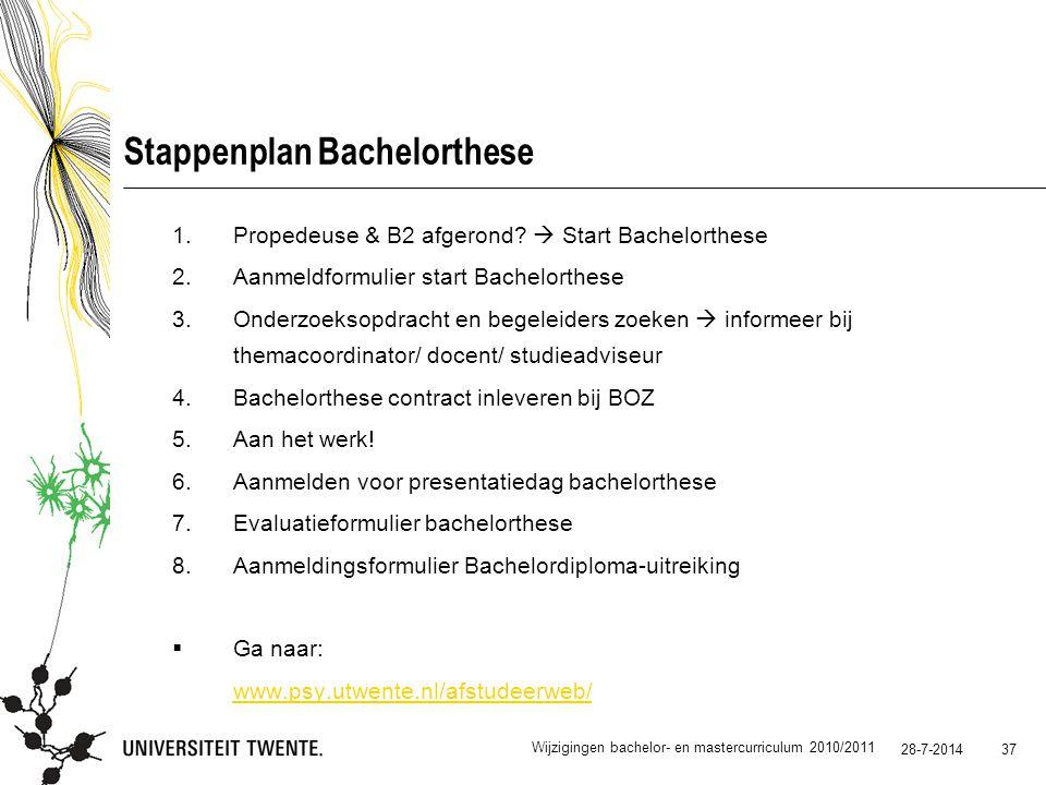 28-7-2014 37 Stappenplan Bachelorthese 1.Propedeuse & B2 afgerond?  Start Bachelorthese 2.Aanmeldformulier start Bachelorthese 3.Onderzoeksopdracht e