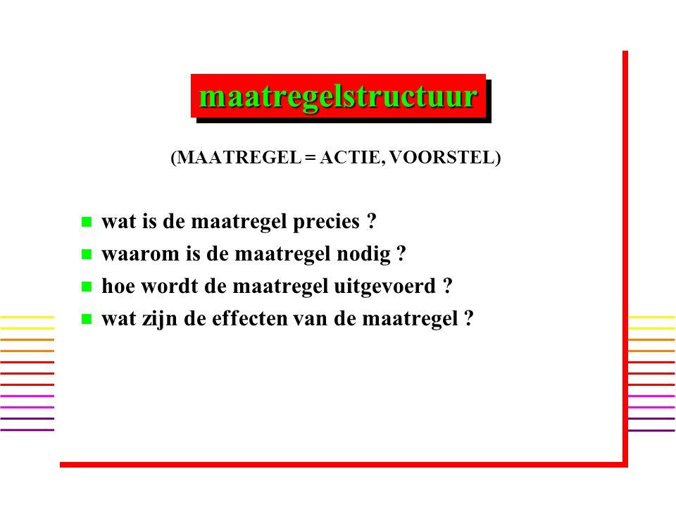maatregelstructuurmaatregelstructuur (MAATREGEL = ACTIE, VOORSTEL) n n wat is de maatregel precies .