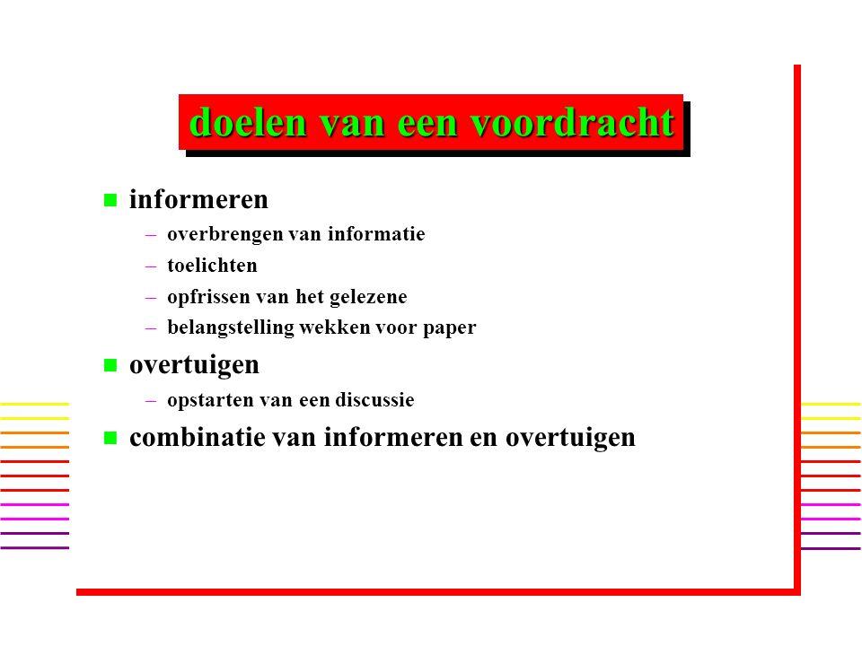 informereninformeren n n 3 tot 5 kernpunten of hoofdvragen – –bijv.