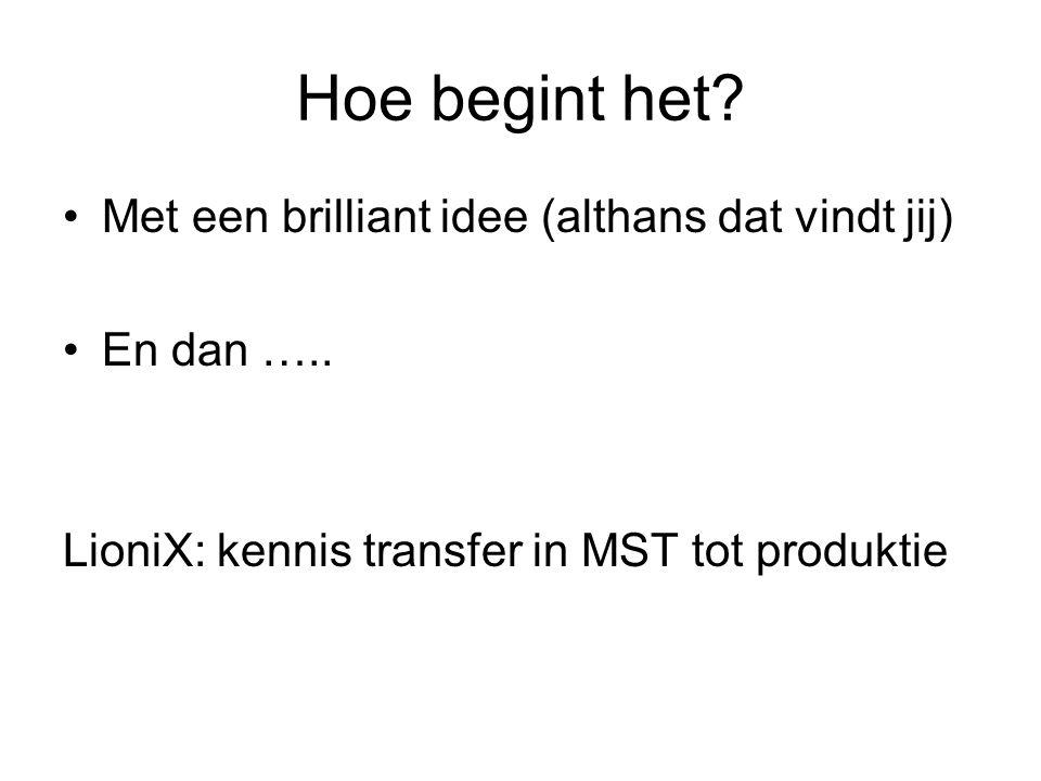 Hoe begint het? Met een brilliant idee (althans dat vindt jij) En dan ….. LioniX: kennis transfer in MST tot produktie