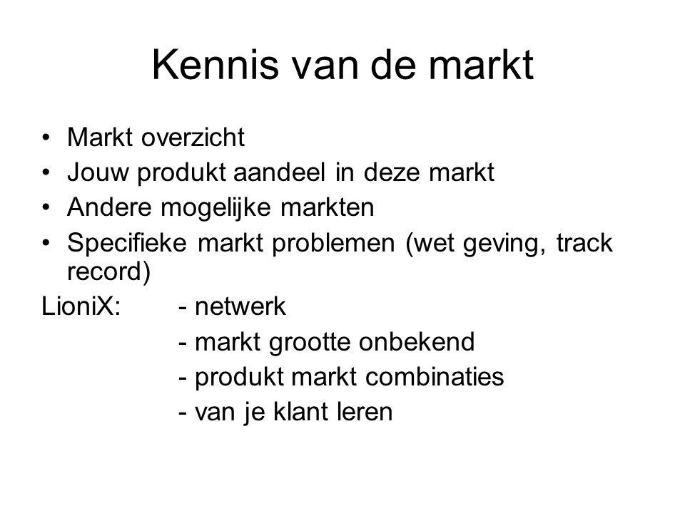 Kennis van de markt Markt overzicht Jouw produkt aandeel in deze markt Andere mogelijke markten Specifieke markt problemen (wet geving, track record)