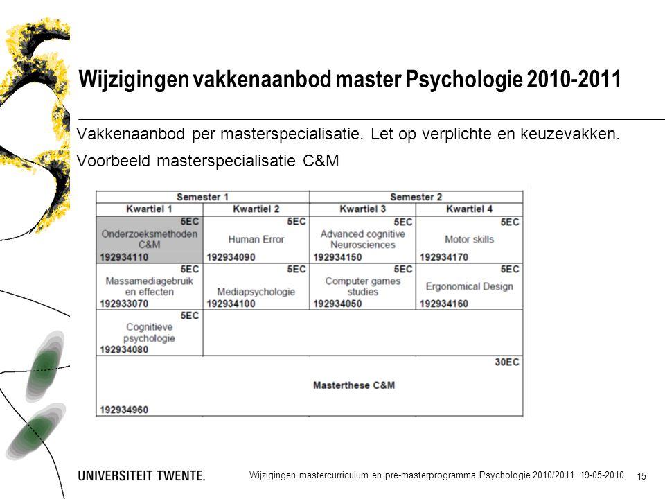 15 Wijzigingen vakkenaanbod master Psychologie 2010-2011 Vakkenaanbod per masterspecialisatie.