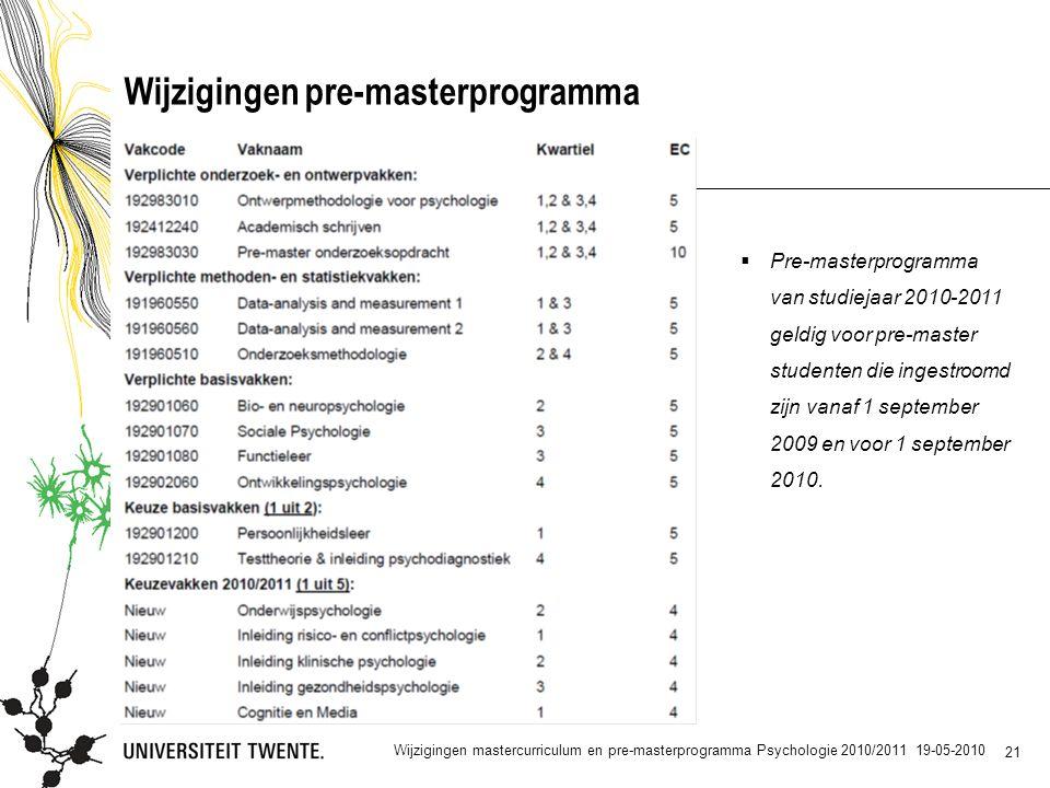 21 Wijzigingen pre-masterprogramma  Pre-masterprogramma van studiejaar 2010-2011 geldig voor pre-master studenten die ingestroomd zijn vanaf 1 september 2009 en voor 1 september 2010.
