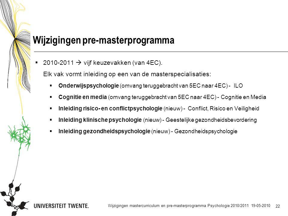 22 Wijzigingen pre-masterprogramma  2010-2011  vijf keuzevakken (van 4EC).