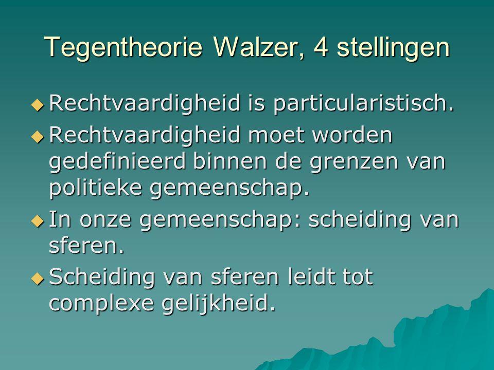 Tegentheorie Walzer, 4 stellingen  Rechtvaardigheid is particularistisch.  Rechtvaardigheid moet worden gedefinieerd binnen de grenzen van politieke