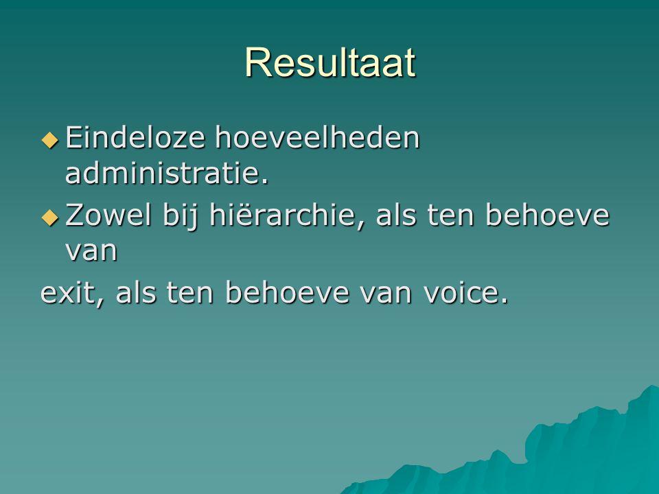 Resultaat  Eindeloze hoeveelheden administratie.  Zowel bij hiërarchie, als ten behoeve van exit, als ten behoeve van voice.