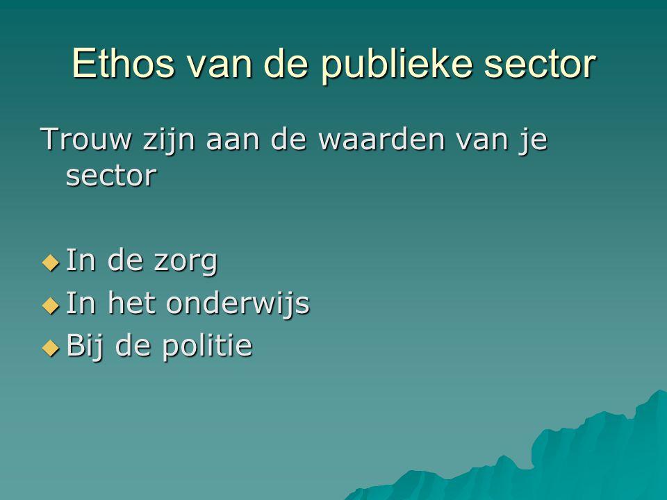 Ethos van de publieke sector Trouw zijn aan de waarden van je sector  In de zorg  In het onderwijs  Bij de politie