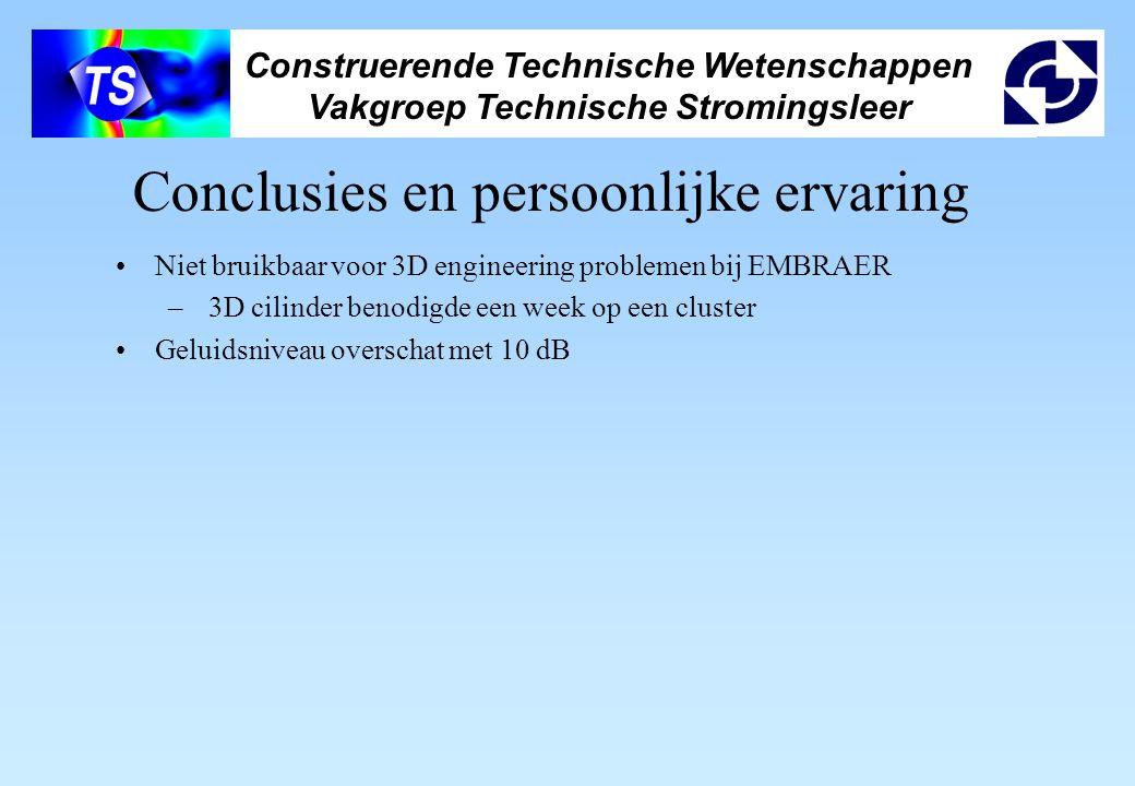Construerende Technische Wetenschappen Vakgroep Technische Stromingsleer Conclusies en persoonlijke ervaring Niet bruikbaar voor 3D engineering proble