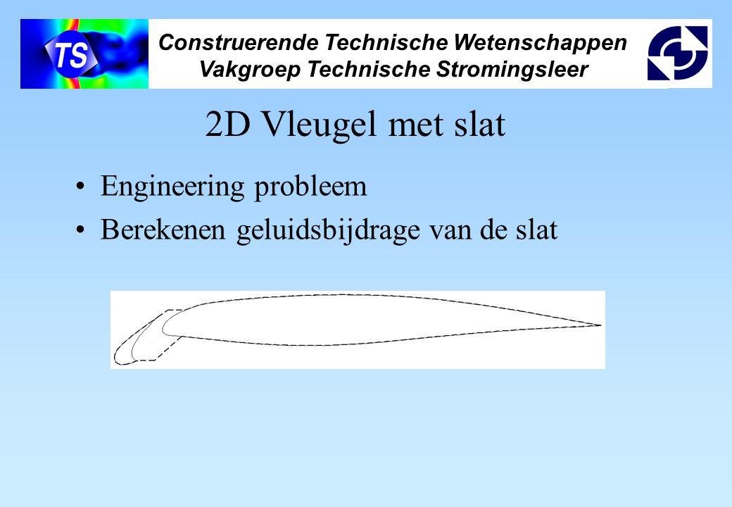 Construerende Technische Wetenschappen Vakgroep Technische Stromingsleer Resultaten 2D Vleugel met slat: –Stroming redelijk nauwkeurig opgelost –Overschatting van hoogfrequent geluid