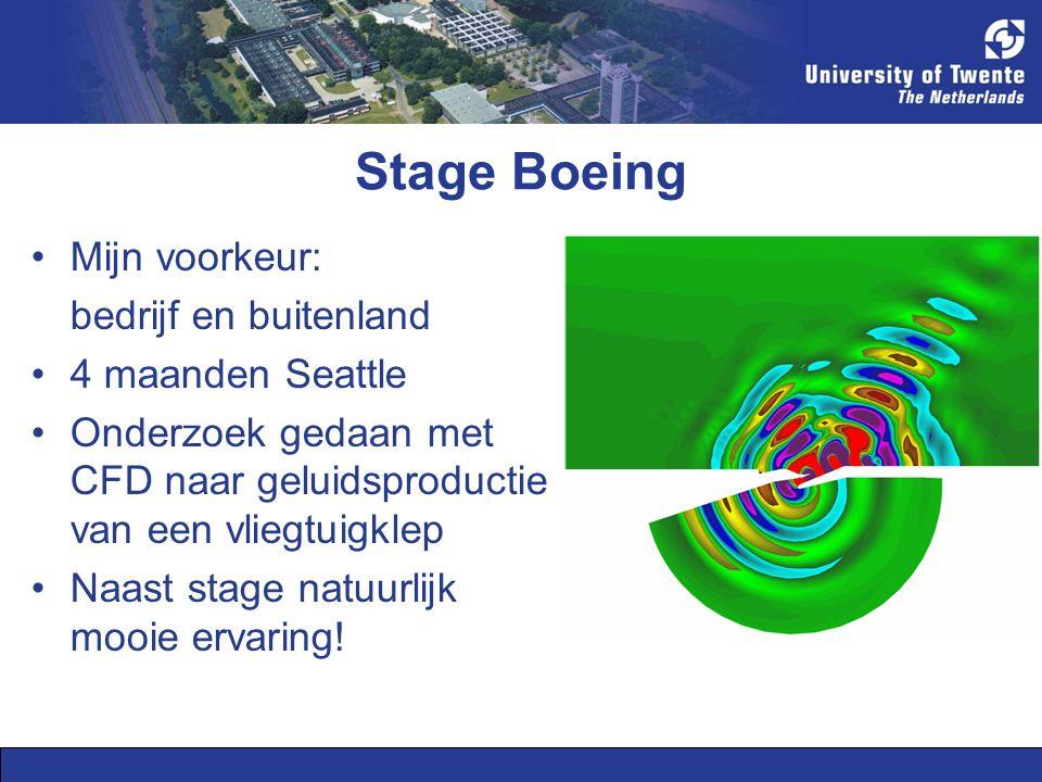 Stage Boeing Mijn voorkeur: bedrijf en buitenland 4 maanden Seattle Onderzoek gedaan met CFD naar geluidsproductie van een vliegtuigklep Naast stage natuurlijk mooie ervaring!