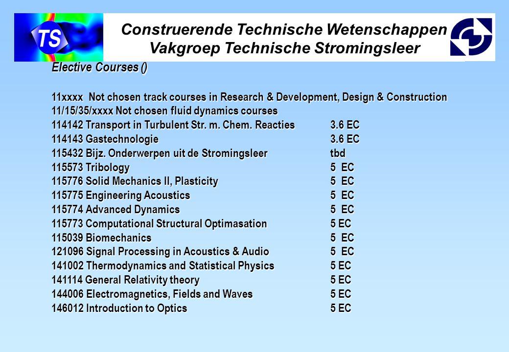Construerende Technische Wetenschappen Vakgroep Technische Stromingsleer Elective Courses () 11xxxx Not chosen track courses in Research & Development