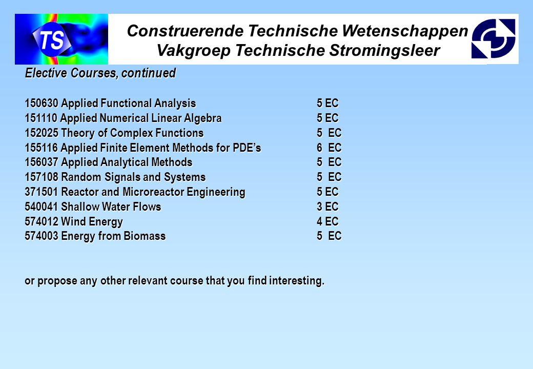 Construerende Technische Wetenschappen Vakgroep Technische Stromingsleer Elective Courses, continued 150630 Applied Functional Analysis5 EC 151110 App