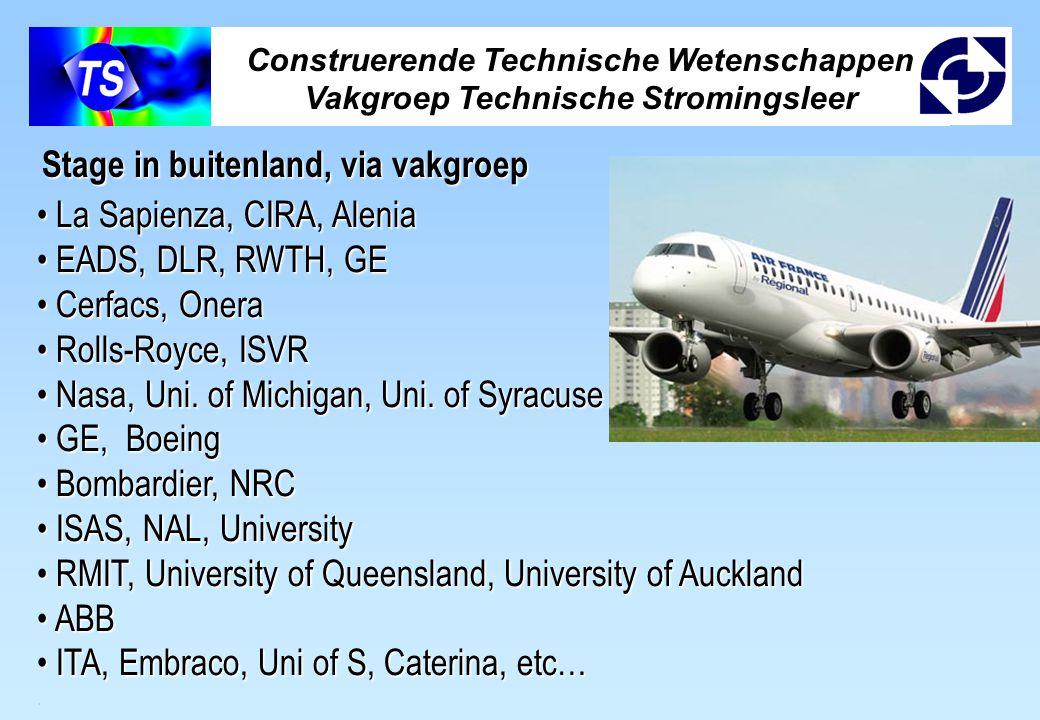 Construerende Technische Wetenschappen Vakgroep Technische Stromingsleer La Sapienza, CIRA, Alenia La Sapienza, CIRA, Alenia EADS, DLR, RWTH, GE EADS,