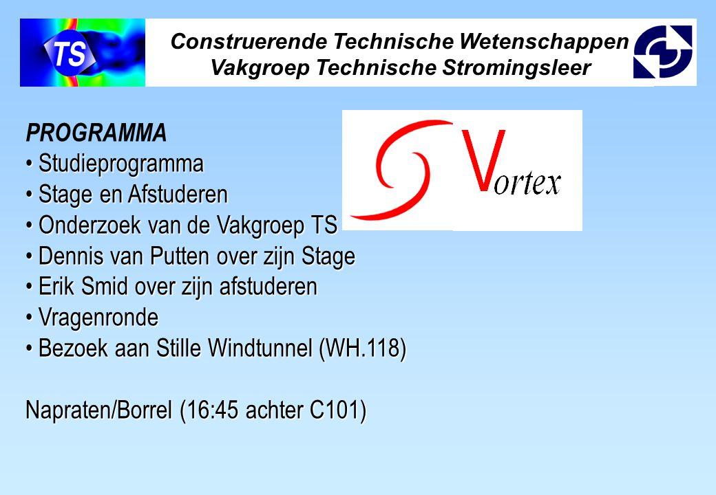 Construerende Technische Wetenschappen Vakgroep Technische Stromingsleer PROGRAMMA Studieprogramma Studieprogramma Stage en Afstuderen Stage en Afstud