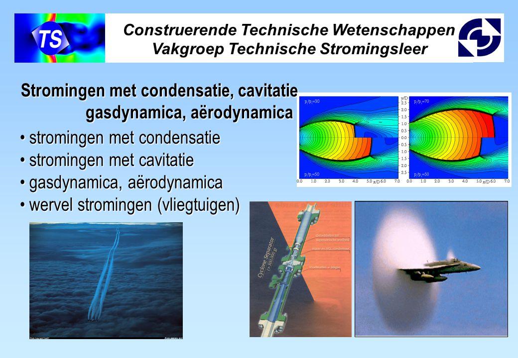 Construerende Technische Wetenschappen Vakgroep Technische Stromingsleer Stromingen met condensatie, cavitatie, gasdynamica, aërodynamica gasdynamica, aërodynamica stromingen met condensatie stromingen met condensatie stromingen met cavitatie stromingen met cavitatie gasdynamica, aërodynamica gasdynamica, aërodynamica wervel stromingen (vliegtuigen) wervel stromingen (vliegtuigen)