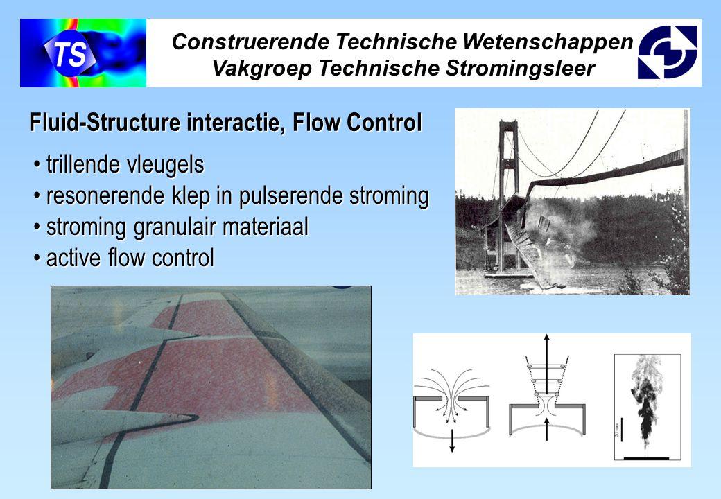 Construerende Technische Wetenschappen Vakgroep Technische Stromingsleer Fluid-Structure interactie, Flow Control trillende vleugels trillende vleugels resonerende klep in pulserende stroming resonerende klep in pulserende stroming stroming granulair materiaal stroming granulair materiaal active flow control active flow control