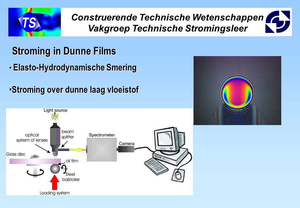 Construerende Technische Wetenschappen Vakgroep Technische Stromingsleer Stroming in Dunne Films Elasto-Hydrodynamische Smering Elasto-Hydrodynamische Smering Stroming over dunne laag vloeistof Stroming over dunne laag vloeistof