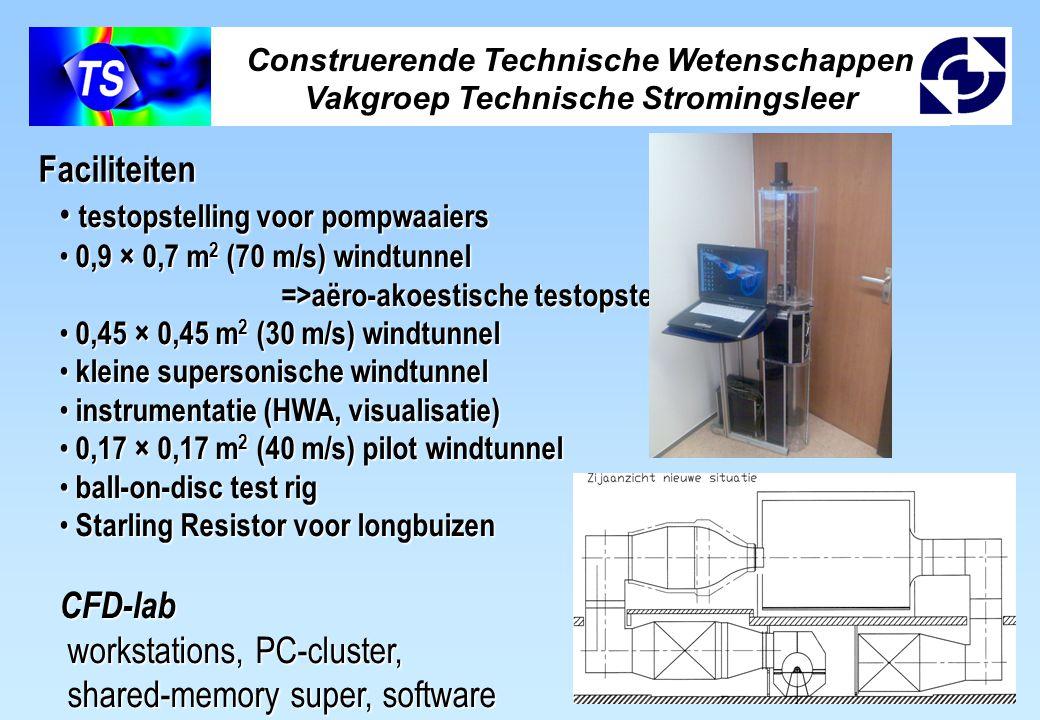 Construerende Technische Wetenschappen Vakgroep Technische Stromingsleer testopstelling voor pompwaaiers testopstelling voor pompwaaiers 0,9 × 0,7 m 2 (70 m/s) windtunnel 0,9 × 0,7 m 2 (70 m/s) windtunnel =>aëro-akoestische testopstelling =>aëro-akoestische testopstelling 0,45 × 0,45 m 2 (30 m/s) windtunnel 0,45 × 0,45 m 2 (30 m/s) windtunnel kleine supersonische windtunnel kleine supersonische windtunnel instrumentatie (HWA, visualisatie) instrumentatie (HWA, visualisatie) 0,17 × 0,17 m 2 (40 m/s) pilot windtunnel 0,17 × 0,17 m 2 (40 m/s) pilot windtunnel ball-on-disc test rig ball-on-disc test rig Starling Resistor voor longbuizen Starling Resistor voor longbuizenCFD-lab workstations, PC-cluster, workstations, PC-cluster, shared-memory super, software shared-memory super, software Faciliteiten